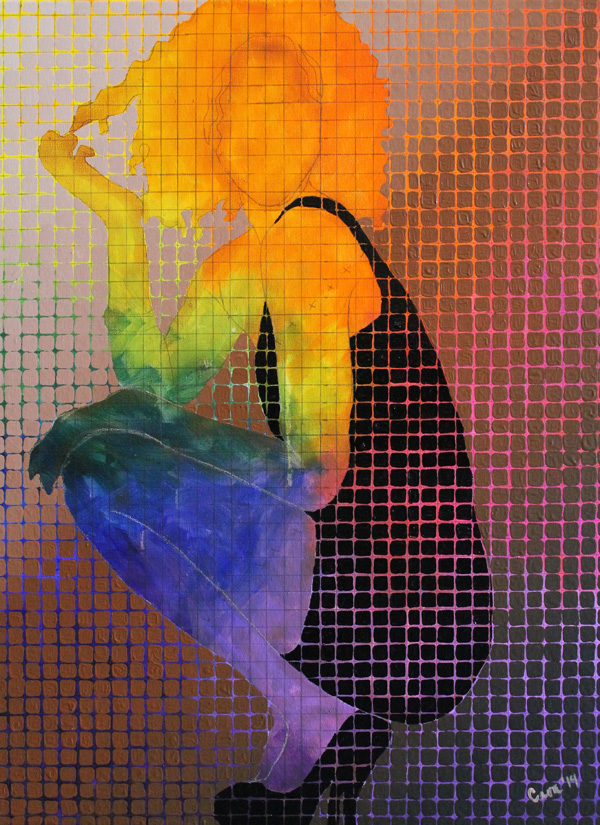 a silhouette of a woman squatting within the confines of the canvas broken up into a grid with the background of a rainbow pushing through as her skin tone and hair color. The clothing and shoes are also gridded and black.
