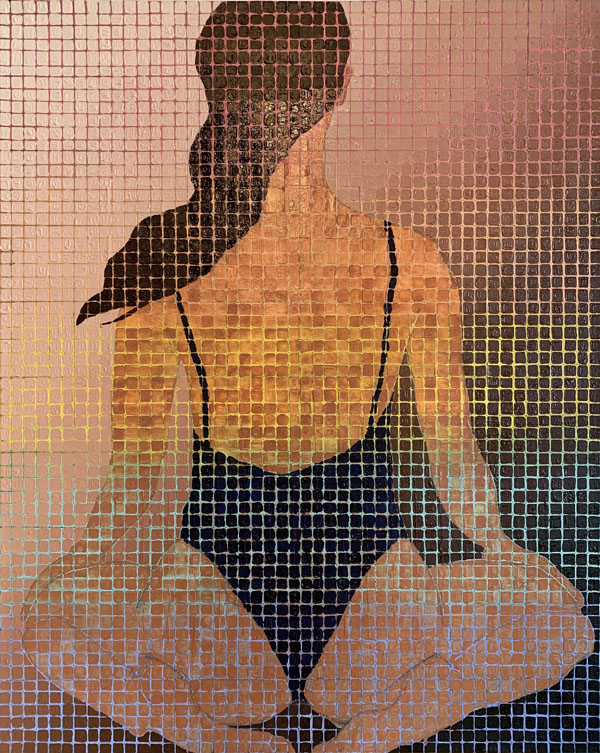 a seated woman ,rear view, in a bathing suit kneeling. The background is a gradient of rainbow with the gridded image on top of the female in a dark bathing suit her hair is dark as well. Her skin tone is shades of transparent brown so that you can see the color of the background rainbow coming through.