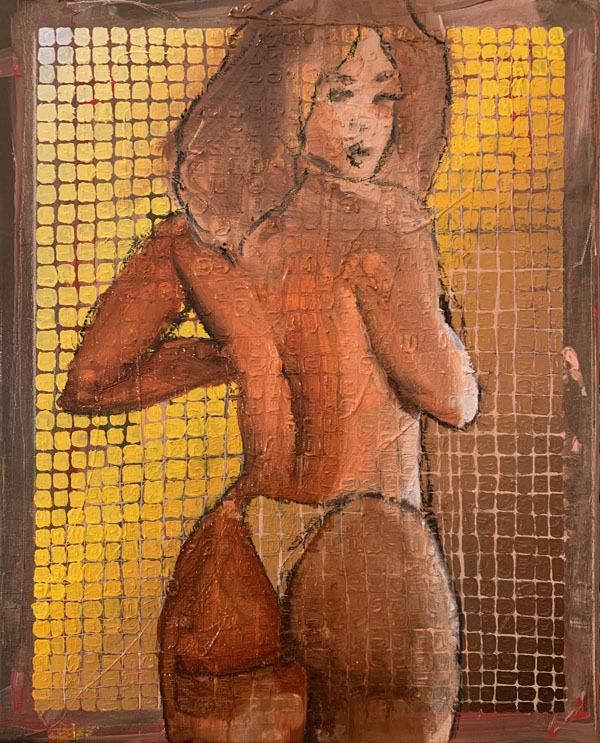 a woman who is transparent wearing a topless bathing suit set against a grid that goes from light to dark on a yellow gradient. She is looking back at the viewer as her form extends outside of the grid all the way to the edges, which the yellow grid stops about one inch away from all the way around.