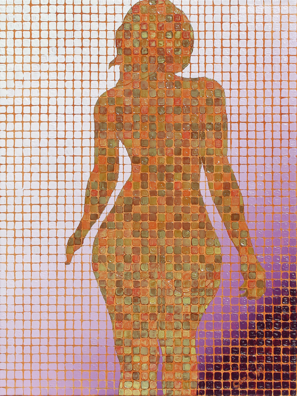 a woman's silhouette walking away composed of many various shades of browns squares on a grid. The back ground is a gridded purple gradient going form light to dark from top left to bottom right.