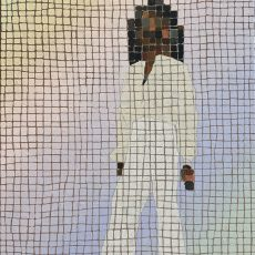a gradient rainbow grade of pastels on a grid with the image of a black woman in white clothing floating in the middle of the canvas abstracted by her skin and hair color being various shades of squares of brown and black.