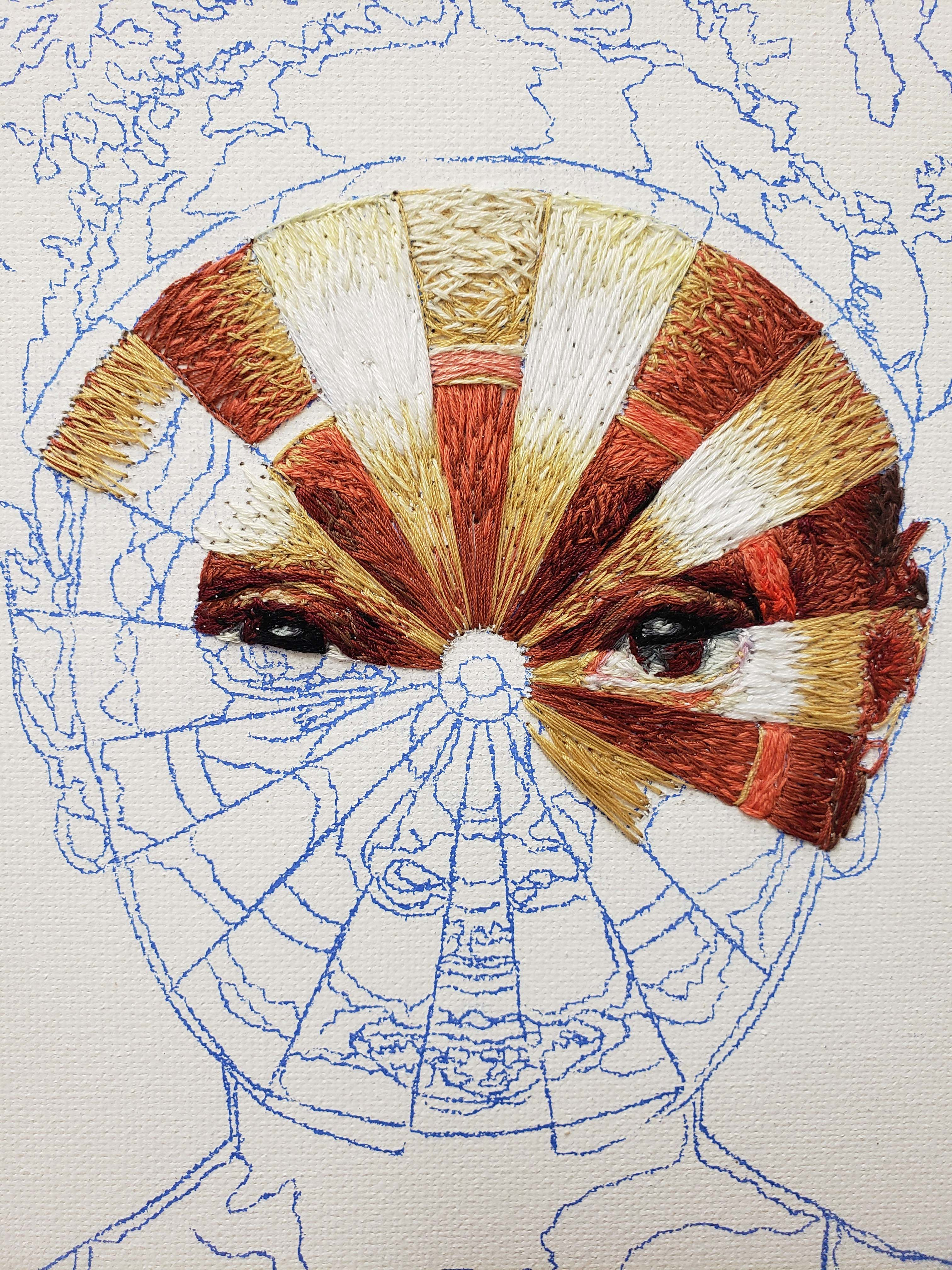 Image of in-progress hand embroidery for Dartboard Target