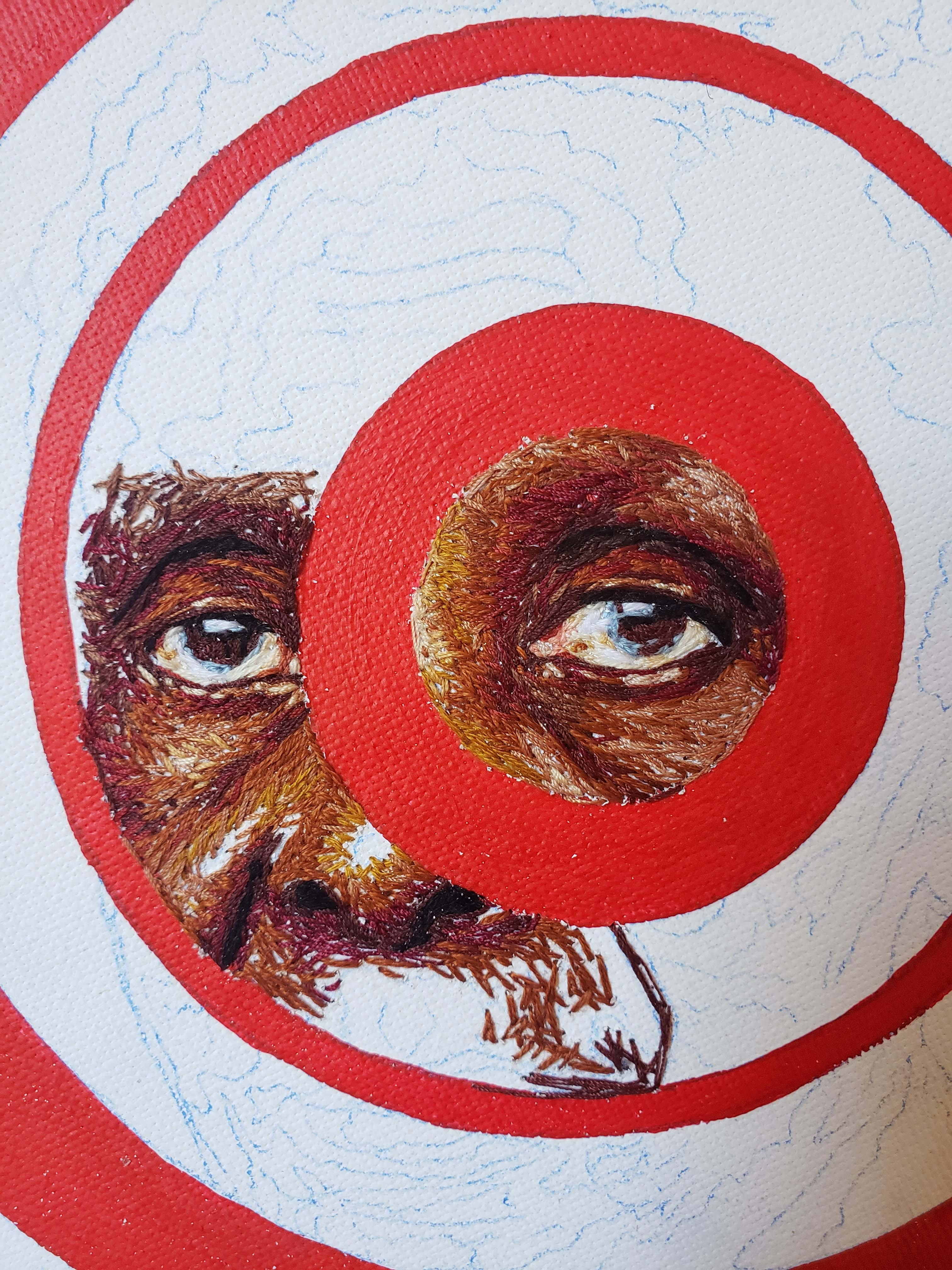 Image of hand embroidered in progress for Red Light