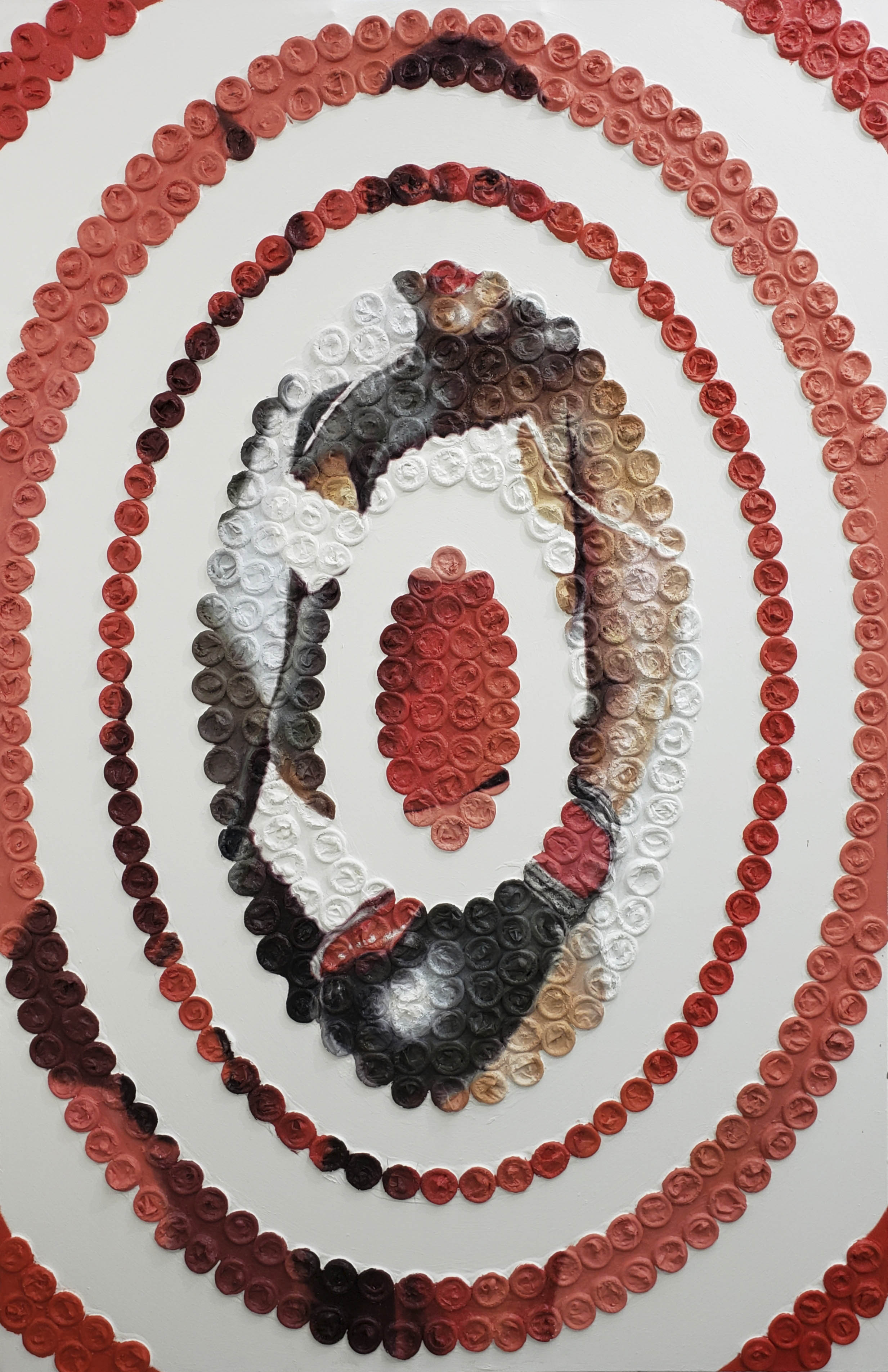 Image of mixed media painting using condoms and oil on canvas to highlight victims of sex trafficking