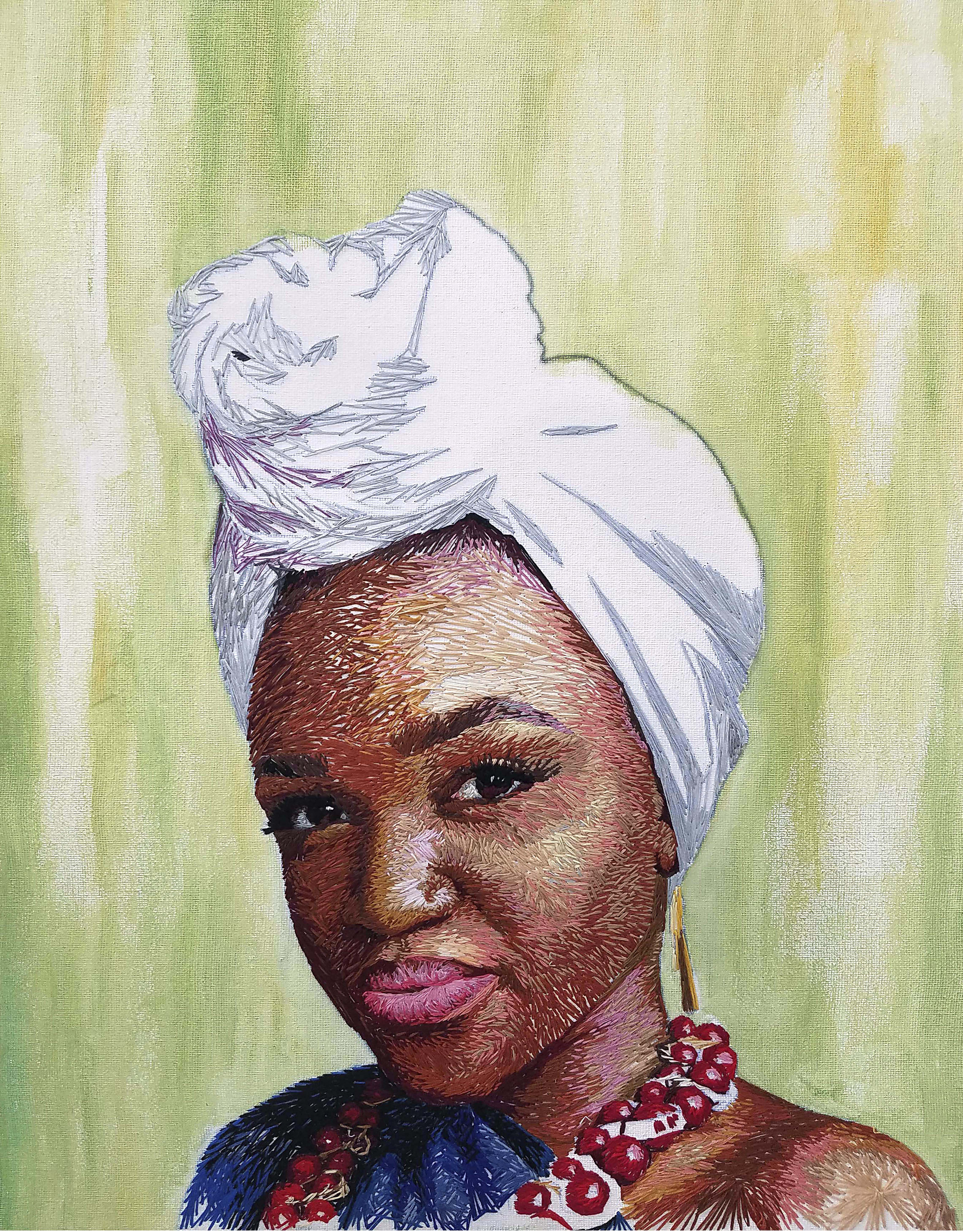 Image of the first hand embroidered portrait completed by Nneka Jones