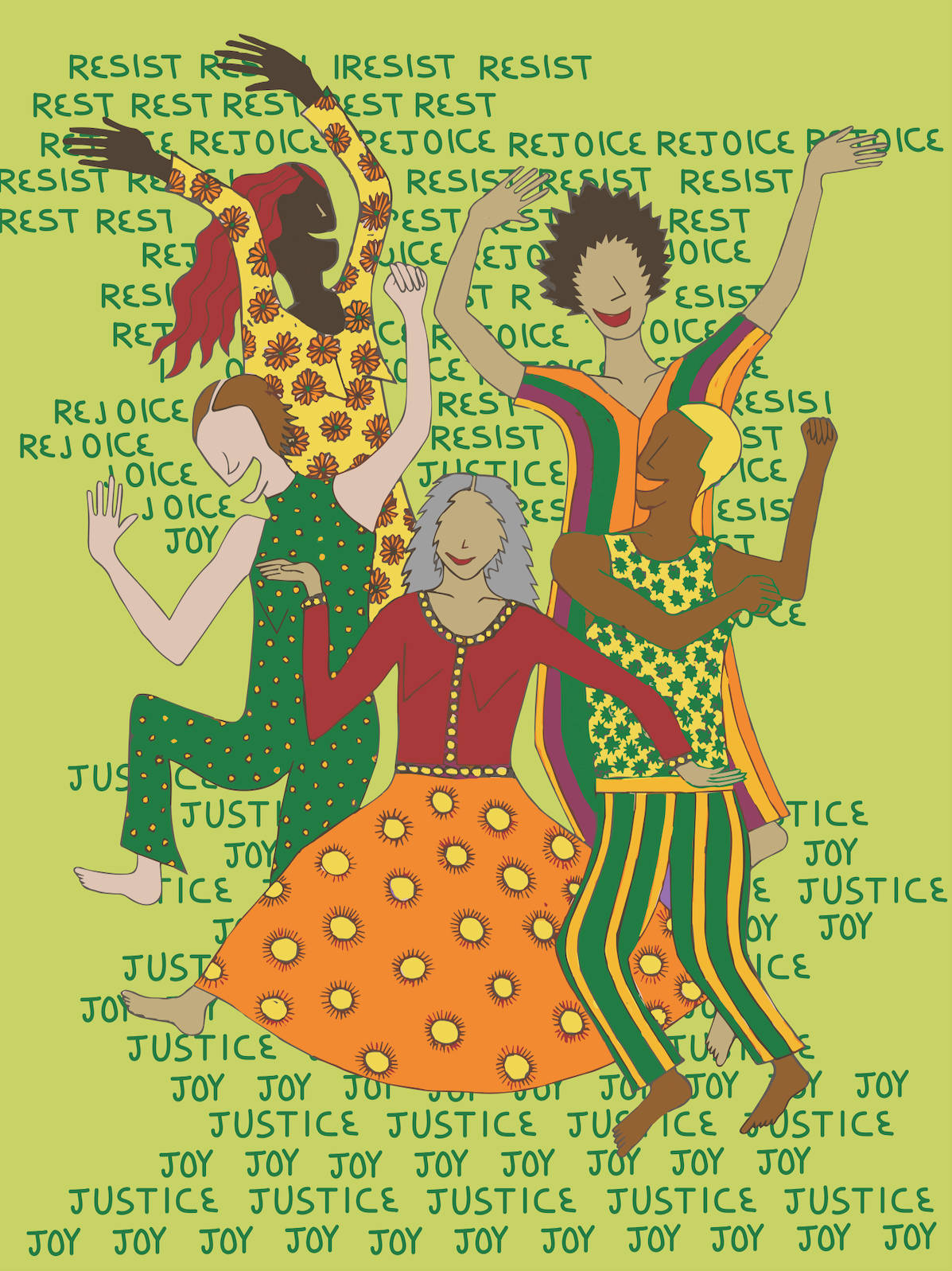 Five figures with dark to light skin tones and brightly patterned clothes dance in the center. They are surrounded by words that repeat in the background: Rest, Resist, Rejoice, Joy, Justice.
