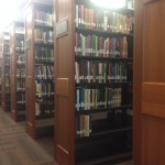 Book shelves at Upjohn Library Commons