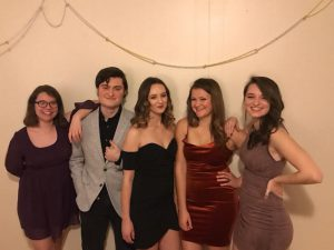 Five students dressed up for Monte Carlo