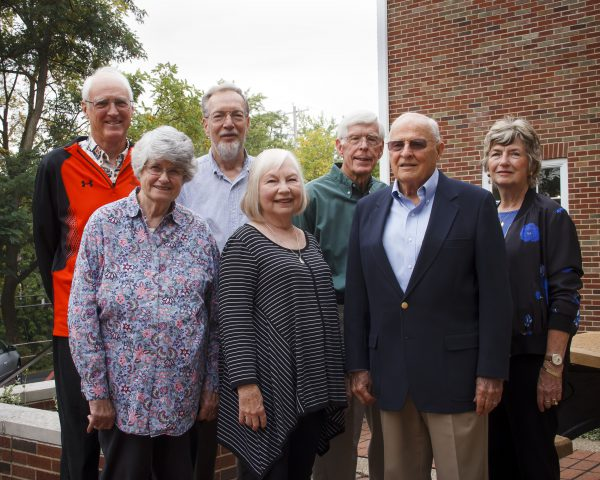 Front row: Ilse Gebhard '62, Sally (Lange) Padley '62, Charles Siefert '59 Bottom row: Steve Turner '63, Charles Glatt '62, George Macleod '60, Donna (Reed) Lambert '64. Not pictured: Mary (Murch) McLean '61, Kay (Machin) Howson '62, Connie (Forsyth) Micklin '62 and David Fischer '59.