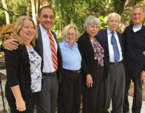 President Gonzalez poses with Suzie Gonzalez, Josh and Midge Stulberg, Professor David and Janet Scarrow.