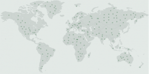 World map shows sites of schools and organizations that have received Green Dot training