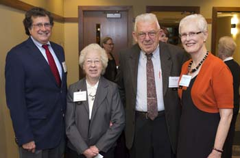 Trustee Emeritus Phil Carra, Louise Fugate, Professor Emeritus of German Studies Joe Fugate and Chair of the Board of Trustees Charlotte Hall