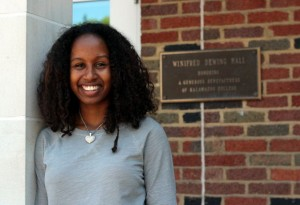 Kalamazoo College graduate Raven Fisher at Dewing Hall