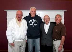 "K Professor of Physical Education, Emeritus, Rolla Anderson, Charles ""Mickey Charles"" Tucker '56, the late Kalamazoo Gazette Sports Editor Bob Wagner and Herb Lipschultz '56 during a 2010 gathering on the K campus"