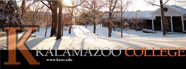 Kalamazoo College logo and workmark against a snowy quad