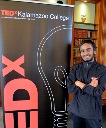 Tanush Jagdish with a TED Talks banner