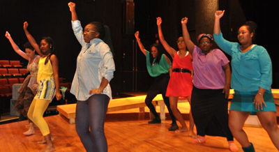 Students rehearsing for a Festival Playhouse production