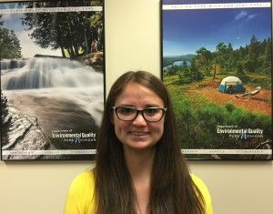 Gabrielle Herin ''18 in her K summer internship at the Michigan Department of Environmental Quality.