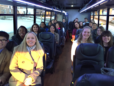 Students on a bus heading to the latest K-Trek, K to the Windy City