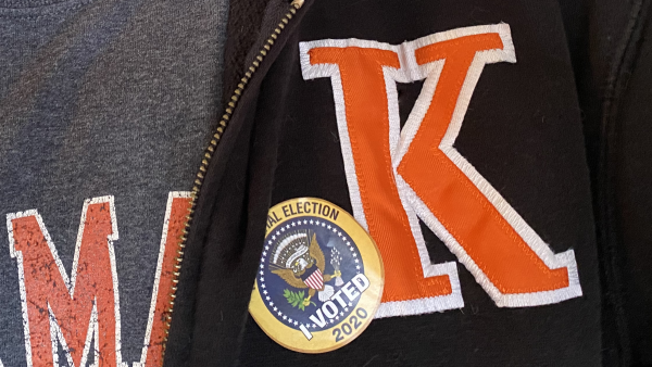 I Voted Sticker on K Votes jacket