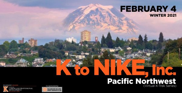 K to Nike graphic with a view of the Pacific Northwest