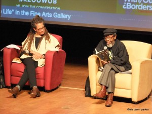 Nikky Finney and Willie Kgositsile sitting in an interview