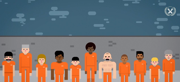digitally illustrated black, brown, and white prisoners