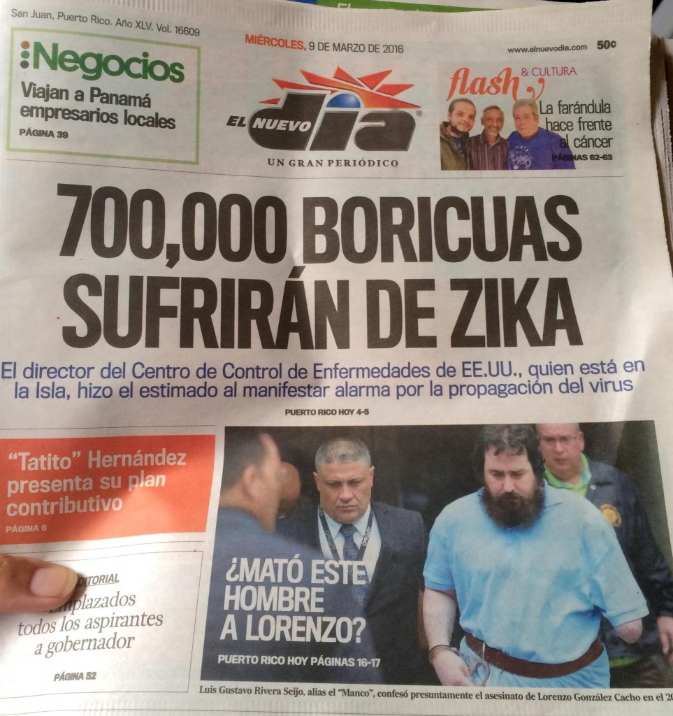 Puerto Rican newspaper discussing the Zika Epidemic in Spanish