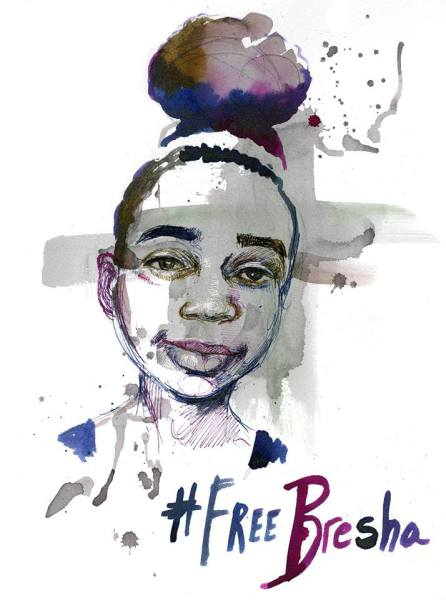 "bresha meadows illustration with words ""#FreeBresha"" along the bottom border"