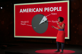 """Negin Farsad in front of a large red slide that has a pie chart on it entitled """"American People"""""""