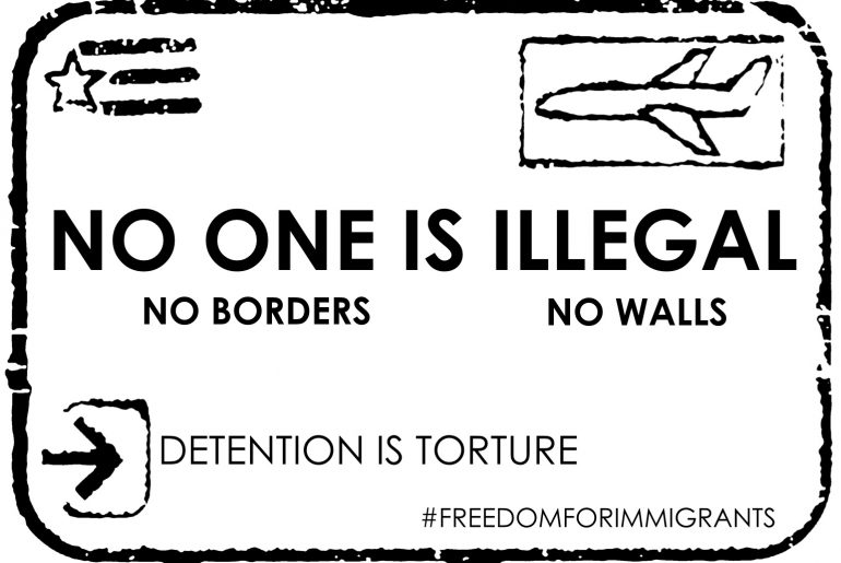 No One is Illegal: no borders, no walls, detention is torture in a postcard format
