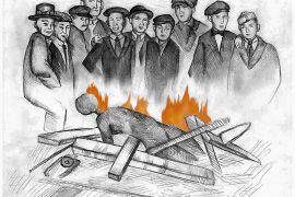 Charcoal drawing of white men laughing and standing over a darker, faceless, burning body on a pile of wood