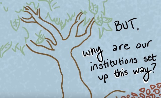 """Hand drawn tree with text """"but, why are our institutions set up this way?"""""""