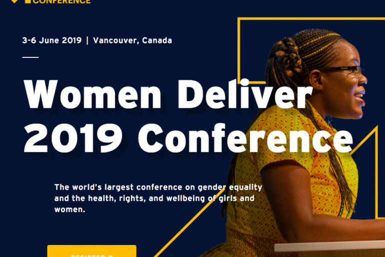 """Women Deliver 2019 Conference graphic that reads """"The world's largest conference on gender equality and the health, rights, and wellbeing of girls and women."""""""
