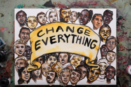 "illustrated heads of people of color with banner saying ""Change Everything"""