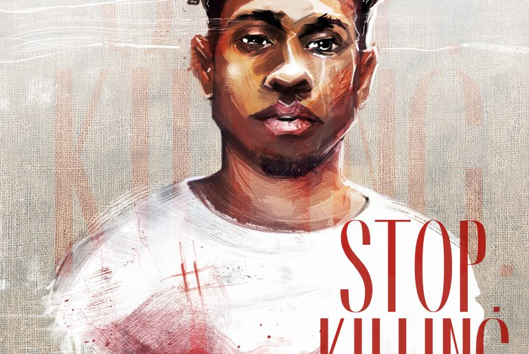"""Painting of Nikkolas Smith with blood on his chest, words drawn saying """"Stop. Killing. Us."""""""