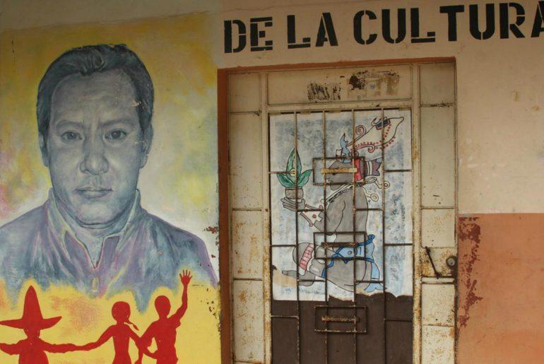 Mural of Marcelo Rivera on a wall in San Isidro, El Salvador