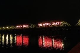 Trenton Makes The World Takes sign at night on the Lower Trenton Bridge viewed from the John Fitch Parkway (New Jersey Route 29) in Trenton, New Jersey
