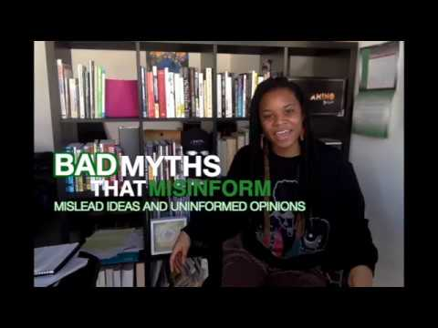 """Amani Swith the words """"Bad myths that misinform mislead ideas and uninformed opinions"""" next to her."""