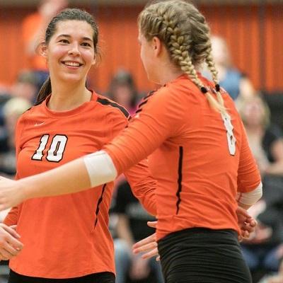 Rachel Girard and volleyball teammate 181002241455KMM