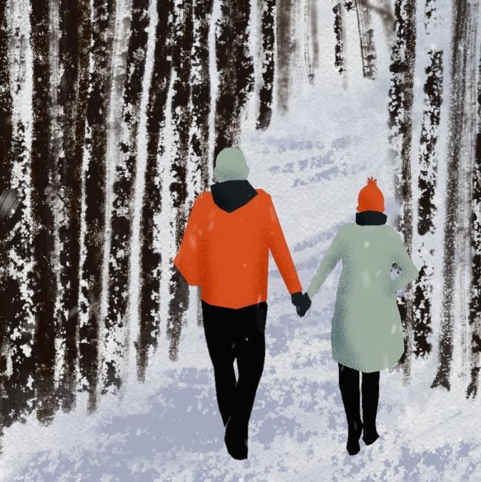 Couple Walking at Arboretum Happy Holidays 2019