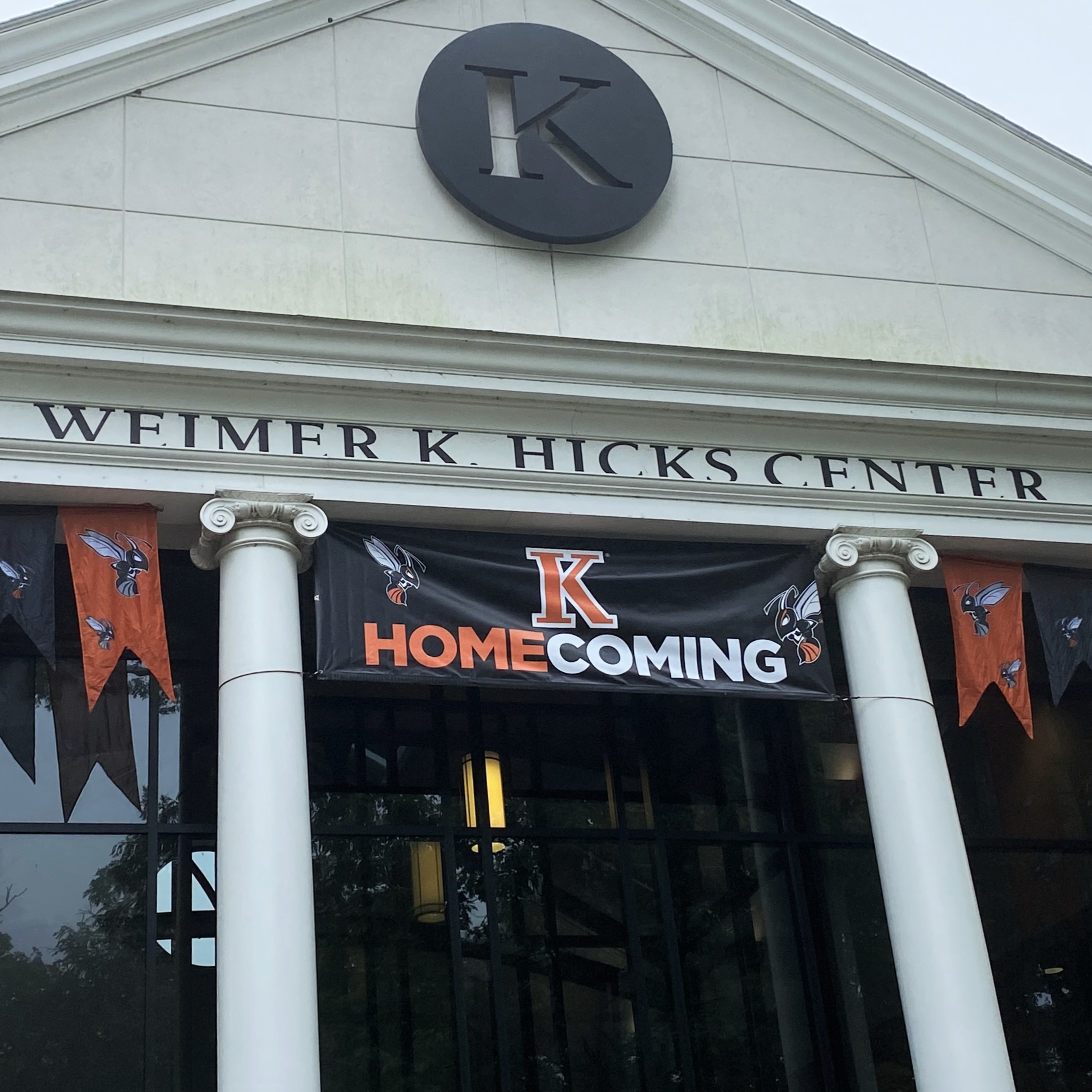 Hicks Student Center with Homecoming banner